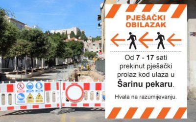 Idućih nekoliko dana povremeno će biti prekinut pješački koridor kod Šarine pekare – od 7 do 17 sati koristite prolaz preko Starog pazara