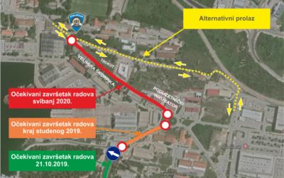 Od ponedjeljka, 21. listopada, radovi ulaze u ulicu Velimira Škorpika od rotora do zgrade PU Šibensko – kninske. Uz postavljanje instalacija, riješit će se i problemi nakupljanja vode kod većih kiša